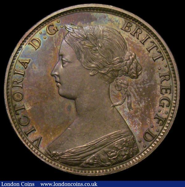 Halfpenny 1868 Bronze Proof Freeman 305 dies 7+G nFDC with a colourful underlying tone, in an LCGS holder and graded LCGS 82, Very Rare and rated R17 by Freeman, our auction database shows we have handled less Bronze Proofs than Cupro-Nickel Proofs of this date : English Coins : Auction 167 : Lot 829