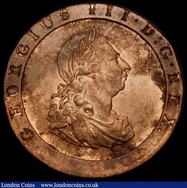Penny 1797 10 Leaves Peck 1132 UNC with light cabinet friction and around 40% lustre, these extremely difficult to find in lustrous state : English Coins : Auction 167 : Lot 855