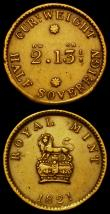 London Coins : A168 : Lot 1010 : Coin Weights (2) 1821 Royal Mint for Half Sovereign, Obverse: Lion on Crown, Reverse: 2Dw. 13 1/8 Gr...