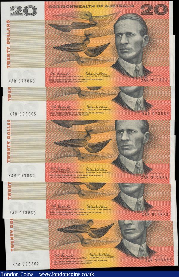 "Australia Reserve Bank 20 Dollars Pick 41a ND (1966-1972) ""Commonwealth of Australia"" Dollar Issues signatures Coombs & Wilson (5) a consecutive run serial numbers XAR 973862 through XAR 973866. The notes in black on red, yellow and multi-coloured underprint featuring Sir Charles Kingsford-Smith at right on obverse and Lawrence Hargrave at left, aeronautical devices on reverse. Watermarked Captain James Cook. All GEF - about UNC : World Banknotes : Auction 168 : Lot 112"