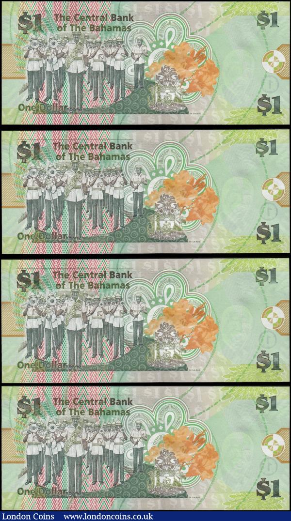 Bahamas Central Bank 1 Dollars Pick 71Aa series of 2015 signature W. Craig (4) all about UNC - UNC and in 2 consecutively closely numbered pairs including serial numbers AP 100002 & AP 100003 together with AP 100007 & AP 100008. Each note in green on multicolour featuring Sir Lynden O. Pindling on obverse and a Police Band scene on reverse. : World Banknotes : Auction 168 : Lot 113