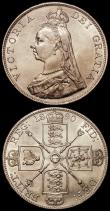 London Coins : A168 : Lot 1150 : Crown 1889 ESC 299, Bull 2589, Davies 483 dies 1A, EF and lustrous, with traces of light toning, Dou...