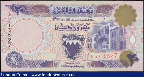 Bahrain Monetary Agency Law of 1973 (4) in various grades VF-GVF to about UNC - UNC comprising 1/ Dinars (2) consisting of Pick 7 Law of 23/1973 (1973) solid security thread serial number TB597871 and  Pick 17 Law of 23/1973 (1996) variety with brown shield in coat of arms and narrow segmented security thread serial number AB823727. A 1 Dinar Pick 8 Law of 1973 serial number FJ 113524. And along with the 20 Dinars Printed by false authorization Pick 16x Law of 1973 narrow segmented security thread and the variety confirmed by a wide space between the prefix letters in the lower right serial number TR 315527 : World Banknotes : Auction 168 : Lot 116