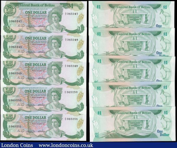 Belize Central Bank & Monetary Authority issues circa 1980's (12) all in about UNC - UNC and comprising Central Bank issues 1 Dollars Pick 38 dated 1st November 1983 Act of 1982 (10) a consecutively numbered set A/8 365242 - A/8 365251. Each note in green on multicoloured underprint, wreath border and no tree tree behind Arms at upper left, a young portrait of H.M. Queen Elizabeth II looking 3/4 left and an underwater reef with fish swarm at centre on obverse. The reverse illustrating House of Representatives, Belmopan and Jaibu stork. All watermarked with the carved head of 'Sleeping Giant'. Together with Monetary Authority 1st June 1980 Ordinance No. 9 of 1976 issues (2) both UNC and very eye-pleasing and always collectible notes comprising the 1 Dollar Pick 38 serial number A/5 043741 in green on multicoloured underprint together with 5 Dollars Pick 39  serial number J/3 577478 in red on multicoloured underprint. Both with no wreath border and linear border of Arms at upper left, a young portrait of H.M. Queen Elizabeth II looking 3/4 left and an underwater reef with fish swarm at centre on obverse. The reverses illustrating House of Representatives, Belmopan. Both watermarked with the carved head of 'Sleeping Giant'. : World Banknotes : Auction 168 : Lot 117