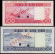 "London Coins : A168 : Lot 122 : Cape Verde Banco de Cabo Verde SPECIMEN notes of the 20th January 1977 ""Cabral"" issues pun..."