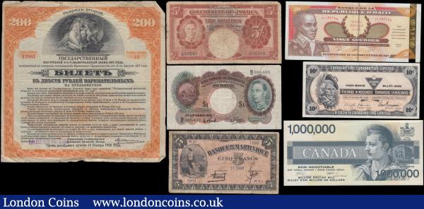 "Caribbean, Canada & Russia mainly early issues including some George VI portrait issues (7) in various grades Fine to about UNC comprising Scarcer issues as the Barbados Government George VI portrait 1 Dollar Pick 2b dated 1st September 1939 serial number B/D 390891. Jamaica Government George VI portrait 5 Shillings Pick 37a dated 1st November 1940 serial number C/36 93593. Martinique 5 Francs Pick 16b WW2 period ND 1942 issue variety with blue serial number R21 1000 517000. Also, a modern Haiti 20 Gourdes Pick 271 dated 2001 series TL183756. Canada (2) including Canadian Tire Corporation, Limited 10 Cents Voucher - also known as Canadian Tire Money ""cash bonus coupon"" along with a Fantasy Money 1 Million Dollar Bill in original packaging. And a Russia Siberia & Urals - Irkutsk 200 Rubley Pick S890 dated 1917 series 33 17801 without coupons. A very desirable and collectible group, certain to attract attention : World Banknotes : Auction 168 : Lot 124"