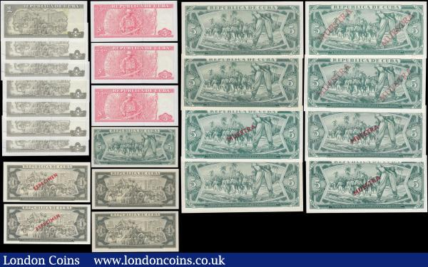 Cuba including Specimen notes (23) all in very high grades GEF to UNC comprising 1 and 5 Pesos Specimen notes (13) various dates 1967, 1968 (3), 1970, 1972, 1978, 1980, 1984, 1985, 1986, 1987 and 1988 along with regular issue 1 Pesos 2016 (7) and 3 Pesos 2005 (3) : World Banknotes : Auction 168 : Lot 133