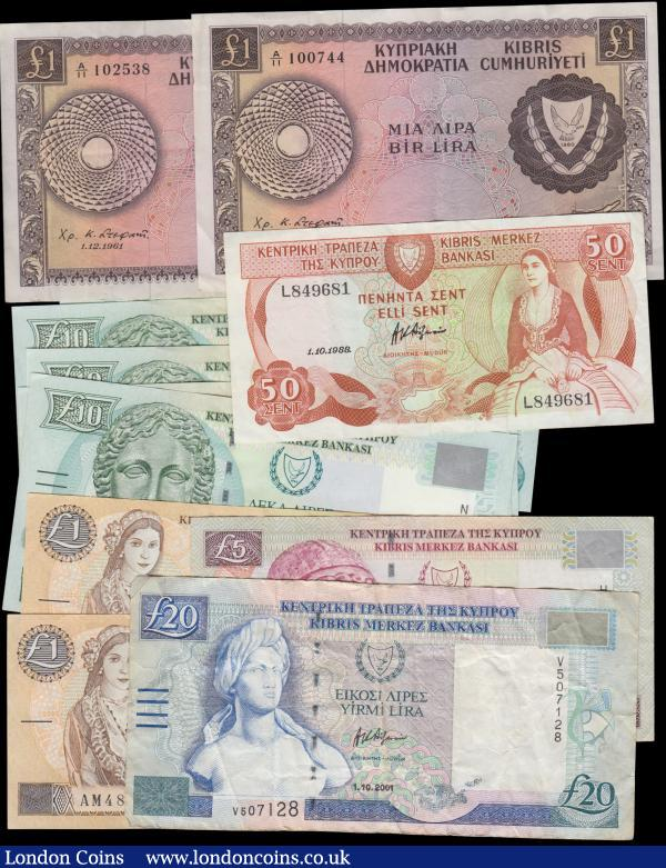 Cyprus 1960's to modern (12) in various grades VF to about UNC comprising 1 Pound Arms issue Pick 39 dated 1st December 1961 (2) both prefix A/11. 50 Cents Pick 52 dated 1st October 1988 series L849681. 10 Pounds Pick 62a dated 1st October 1997 (5) consecutively numbered set series N619385 - N619389. Along with 2001 issues (4) including 1 Pounds Pick 60c (2), 5 Pounds Pick 61a and 20 Pounds Pick 63b. : World Banknotes : Auction 168 : Lot 135