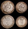 London Coins : A168 : Lot 1421 : Maundy Set 1701 ESC 2392, Bull 1308 comprising Fourpence 1701 ESC 1884, Bull 1313 VF/GVF, Threepence...