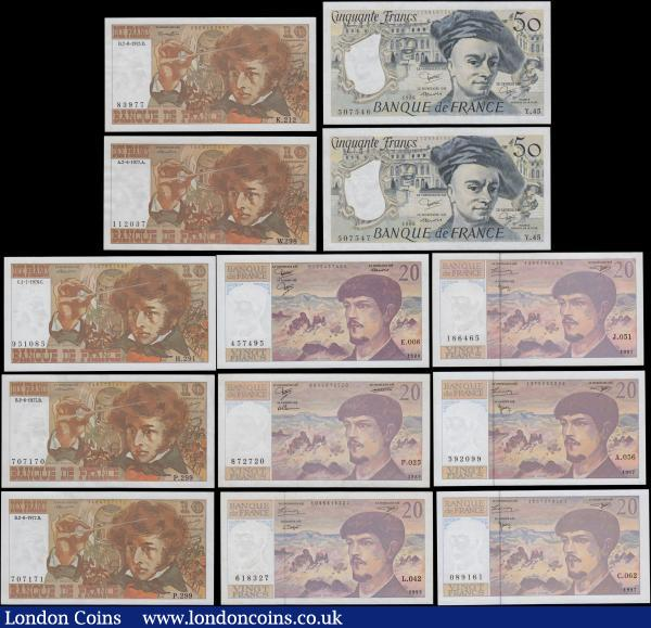 "France 1970-90's Issues (13) with a malgamation of varieties most if not all about UNC - UNC. Comprising 10 Francs ""Berlioz"" (5) including Pick 150b (Fayette F63.12) 7th August 1975 signatures Morant, Bouchet & Tronche along with Pick 150c (Fayette F63.19 & F63.22) signatures Strohl, Bouchet & Tronche (4) consisting of a consecutively numbered pair 2nd June 1977 series P.299 707170 &  P.299 707171 also series W.298 112037 of the same date along with 1st July 1976 series H.291 951085. 20 Francs ""Debussy"" (6) including Pick 151a (Fayette F66.1) 1980 signatures Strohl, Tronche & Dentaud. Pick 151c (Fayette F66.10) 1989 signatures Ferman, Dentaud & Charriau. Also security threaded issues as Pick 151g (Fayette F62bis.5)  1993 signatures Bruneel, Bonnardin & Vigier. Pick 151i (Fayette FV66ter.2) 1997 signatures Bruneel, Bonnardin & Barroux (3). Along with a consecutive pair of the 50 Francs ""Quentin De La Tour"" Pick 152b (Fayette F67.12) 1986 signatures Strohl, Tronche & Dentaud (2) series Y.045 507546 & Y.045 507547. An appealing group group. To ease readability references listed - 150b (Fayette F63.12), 150c(3)(Fayette F63.19 & F63.22), , 151a (Fayette F66.1), , 151c (Fayette F66.10), , 151g (Fayette F62bis.5), , 151i (Fayette FV66ter.2) (3), , 152b (Fayette F67.12) (2) : World Banknotes : Auction 168 : Lot 163"