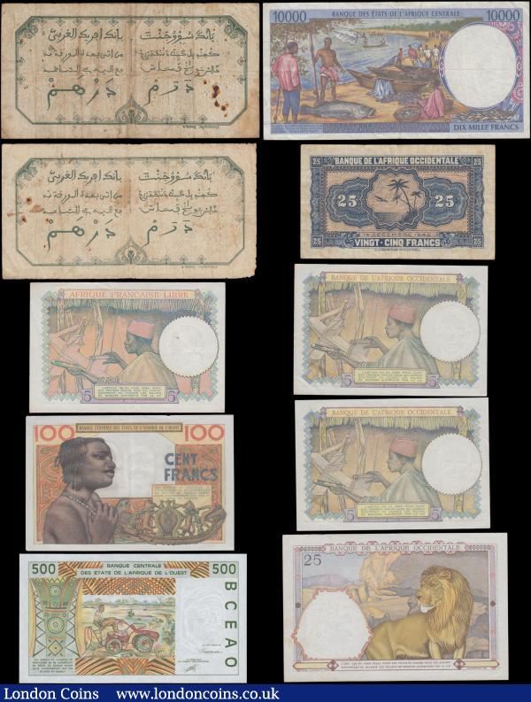 French Colonial Africa (10) a malgamation of various issues and issuers in a diversity of grades Fine-VF to EF-GEF. Comprising French West Africa (6) including the early issue 5 Francs Dakar (2) consisting of Pick 5Be dated 13th January 1928 and Pick 5Bf dated 16th May 1929. Along with World War II period issues as the 5 Francs without place of issue and light blue value numerals Pick 25a dated 6th May 1942 (2) closely numbered  K.9447 882 & K.9447 983. 25 Francs Pick 27a dated 22nd April 1942 series R3424 144 red value numerals at upper left and right on obverse. And 25 Francs Pick 30a dated 14th December 1942 Block Z number 0270402, Block letters at upper left and right variety. West African States  (2) including Senegal Code Letter K 500 Francs Pick 710Ka First year of issue 1991 (first 2 digits of serial give last 2 of the year of issue) serial number 9157236850 along with Dahomey / Bénin Code Letter B 100 Francs Pick 201Bb dated 20th March 1961 series F135 B 43741 signatures B. Borna & R. Julienne. Central African States Cameroon Code Letter E 10000 Francs Pick 205Ea 1994 (first 2 digits of serial give last 2 digits of year) series 94011560231. And French Equatorial Africa Afrique Francaise Libre World War II period 5 Francs Pick 6a ND 1941 series A/38 855159. French African notes always very sought after and desiarable by many collectorls and dealars alike : World Banknotes : Auction 168 : Lot 168