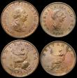 London Coins : A168 : Lot 1726 : Halfpennies (4) 1718 NVF/VF with some surface marks, 1773 VF, 1799 5 Incuse gunports EF with traces ...