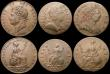 London Coins : A168 : Lot 1727 : Halfpennies (5) 1699 Date in Exergue, Fine with some doubling to the obverse legend, 1747 GF/NVF, 17...