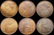 London Coins : A168 : Lot 1758 : Pennies (5) 1865 EF, 1866 GVF, 1873 GEF with traces of lustre, 1886 EF with traces of lustre, 1890 N...