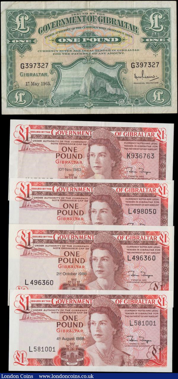 Gibraltar Government 1 Pounds 1960s and 80s issues (5) in VF-GVF and about UNC - UNC comprising a Scarce Rock of Gibraltar Pick 18a dated 1st May 1965 serial number G397327, TDLR print and signature title Financial Secretary. Along with 1980's issues QE2 issues (4) including Pick 20c dated 10th November 1983 series K936763. Pick 20d (2) both dated 21st October 1986 serial numbers L498050 and L496360. And Pick 20e dated 4th August 1988 series L581001. A very attractive group : World Banknotes : Auction 168 : Lot 187