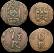 London Coins : A168 : Lot 1908 : Portuguese India - Goa (3) 7 1/2 Reis (2) 1845 KM#260 NVF, 1846 KM#260 Good Fine, 6 Reis 1845 KM#259...