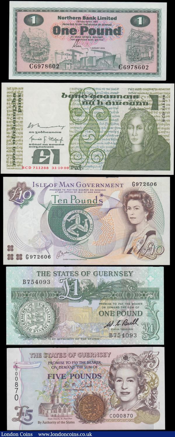 Ireland (Republic & Northern), Isle of Man and Guernsey (5) all in very high grades GEF - UNC comprising Ireland (Republic) Central Bank 1 Pound Pick 70b (BY E137, PMI LTN71) dated 31st October 1980 series BCD 711288 signatures Murray & O'Cofaigh. Ireland (Northern) Northern Bank Limited 1 Pound Pick 187c (BY NI.602c, PMI NR89) dated 1st August 1978 series C6978602 signature Ervin. Isle of Man 10 Pounds Pick 44a (PMS IM54a, IOMPM M537) ND 1998 series G972606 signature Cashen without 'Limited' in promissory text. Together with Guernsey (2) including 1 Pound Pick 48a (BY GU35a) ND 1980-89 series B754093 signature W.C. Bull in black along with 5 Pounds Pick 56b (BY GU45b) ND 1996 - 2008 micro-printed security thread signature D.M. Clark and a low number for this type C000870. : World Banknotes : Auction 168 : Lot 207