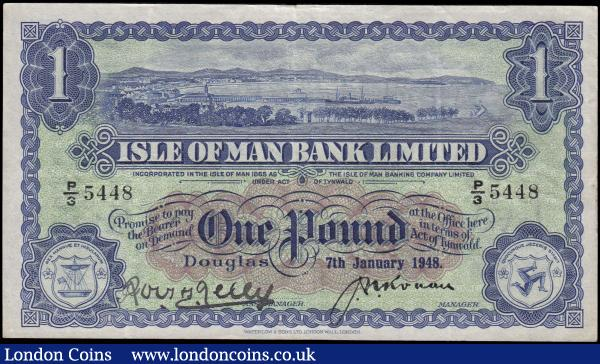 Isle of Man Bank Limited 1 Pound Pick 6b (BY IM3d, IOMPM M281) a FIRST date and prefix for this type 7th January 1948 serial number P/3 5448 signatures J. N. Ronan & R.H. Kelly, a Scarce post war note in VF-GVF. The note in blue and black on brown and green underprint featuring a view of Douglas Bay on obverse and the with guilloche panels and the Triskele Isle of Man Coat of Arms. Printed by Waterlow & Sons Limited, London Wall, London. : World Banknotes : Auction 168 : Lot 210