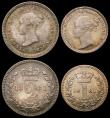 London Coins : A168 : Lot 2230 : Maundy Set 1881 ESC 2495 UNC or near so with a rich matching tone