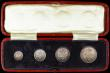 London Coins : A168 : Lot 2236 : Maundy Set 1904 ESC 2520, Bull 3610 UNC and lustrous, the Twopence with tiny rim nicks and a small t...