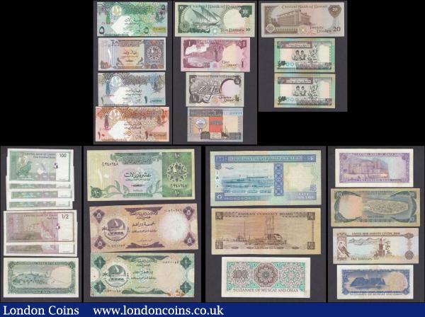 "Middle East (28) in various grades average VF to about UNC - UNC comprising some interesting issues from Bahrain, Sultanate of Muscat & Oman, Oman, Qatar, Kuwait and United Arab Emirates. Some interesting issues comprising Qatar including ND 1995 issue 1 Riyal Pick 13b and ND 2003 issues (3) 1 Riyal Pick 20, 5 Riyals Pick 21, 10 Riyals Pick 22. Also Kuwait including L. 1968 (1980-1991) ""White Underplayed Arms"" Issues (4) including 1/4 Dinar Pick 11d, 1 Dinar Pick 13d, 10 Dinars Pick 15c and 20 Dinars Pick 16b along with L. 1968 (1994-2014) ""We Seek God's Assistance"" Issues (3) including 1/4 Dinar Pick 23b and 1/2 Dinars (2) Pick 24a and 24b. An interesting and diverse group : World Banknotes : Auction 168 : Lot 235"