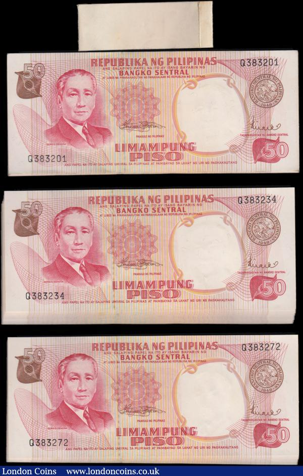 Philippines Bangko Central ng Pilipinas 50 Piso Pick 146b ND (1969) issues (99) a bundle in an original bank wrapper and all consecutively numbered Q383201 through Q383299. The notes in red on multicolour underprint featuring S. Osmena at left, heading at top in double outline and Central Bank Seal Type 2 on obverse and Legislative Building on reverse. Watermarked S. Osmena. All about UNC - UNC : World Banknotes : Auction 168 : Lot 249