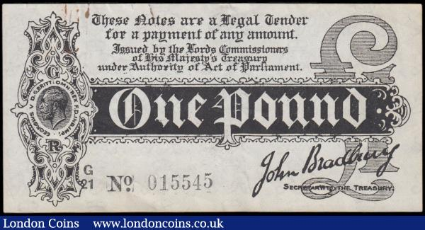 One Pound Bradbury First Issue T3.3 Black Six-digit serial number Dot in No. issue 1914 series G/21 015545 original and relatively crisp GVF Rust Paper Clip Marks, Minor Edge tears one at paper clip mark, a Scarce and pleasing early note : English Banknotes : Auction 168 : Lot 26