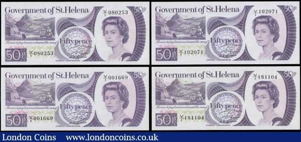 Saint Helena 50 Pences Pick 5a ND 1979 H.M. Queen Elizabeth issues (4) all in about UNC - UNC including serial numbers  V/I 001669, V/I 080253, V/I 102071 and V/I 181104. All in violet on multicolour with much eye-appeal and always desirable notes : World Banknotes : Auction 168 : Lot 261