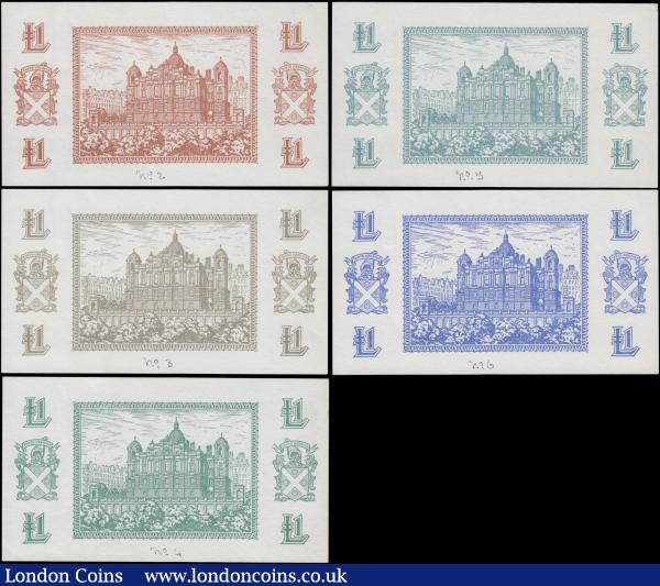 Scotland Bank of Scotland 1 Pound Waterston Essay/Colour Proof unadopted Reverse designs ND 1943, PMS 96 for type (5) all GEF, Exceptionally Rare and in different colours each ink numbered in lower centre margin as follows - No. 2 in Brown, No.3 in Olive-gray, No.4 in Green, No.5 in teal (blue-green) and No.6 in Blue. Each displaying the Bank's Head Office building at centre flanked by the Bank's Coat of Arms and value in each corner. In April, 1943 in advance of the Bank's 250th anniversary in 1945, the Bank started to consider redesigning their 1 Pound notes. A committee was setup and several essays were presented by Waterstons, until Stanley Curister, Curator of the National Gallery, was consulted and expressed a view that none of the designs were suitable and presented a whole new design with the Bank's Arms against a lined background which was approved in May 1944. These very seldom seen and offered for sale, so this a unique opportunity to acquire them and will certainly do a great addition to even the most advanced Scottish collections : World Banknotes : Auction 168 : Lot 266