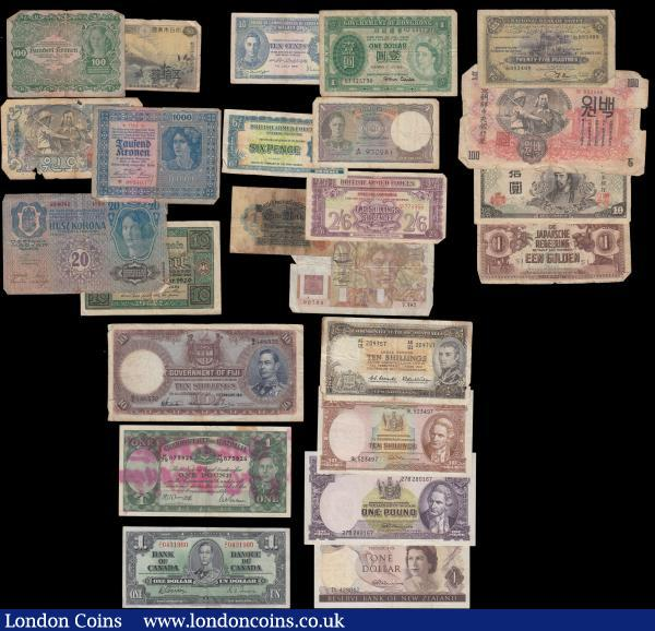 World (24) a vast amalgamation of early and mid 1900's examples from various countries and issuers, including a fair amount of George VI portrait issues and all in mixed grades averaging  VG - Fine to VF - GVF. Some Scarce examples include Fiji 10 Shillings Pick 38e dated 1st January 1941 signatures Robertson, Hayward & Banting serial number B/2 148532 printer BWC. 1 Dollar Pick 58d dated 2nd January 1937 signatures Gordon & Towers variety with wide signature panels serial number Z/L 0431960. Australia (2)  10 Shillings Pick 33 signatures Coombs & Wilson along with 1 Pound Pick 26b signatures Armitage & McFarlane, this note with substantial grafitti. Japan 10 Yen Pick 77a ND 1945 block 32 Wakeno Kiyomaro &  Goo shrine and Scarce with these earlier block numbers. Egypt 25 Piastres Pick 10c dated 4th December 1945 signature Nixon. New Zealand signature Fleming ND 1967 (3) including 10 Shillings Pick 158d, 1 Pound Pick 159d and a 1 Dollar Pick 163a. The lot includes notes from Ceylon, B.A.F (2), Malaya, Hong Kong, Austria (3), Japan (2), North Korea (2), Germany (2), France, Egypt, Netherland Indies Japanese Occupation, Australia (2), Canada, Fiji and New Zealand (3) : World Banknotes : Auction 168 : Lot 305