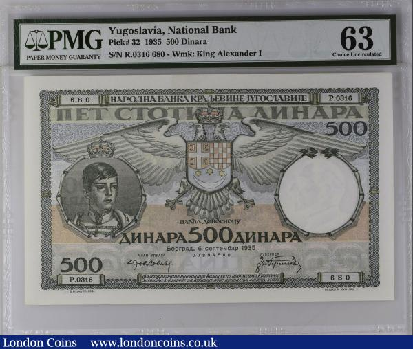 Yugoslavia (Kingdom) National Bank 500 Dinara Pick 32 dated Belgrade, 6th September 1935 serial P.0316 680 number 07894680 and the note in green on light blue and pink underprint featuring portrait of young King Peter II, the last King of Yugoslavia reigning from 1934 to 1945 and the last reigning member of the Karađorđević dynasty which came to prominence in the early 20th century, along with Coat of Arms at centre on obverse and seated farming women with sheats of wheat on reverse. Watrmark with King Alexander I, the father of King Peter II. In a PMG holder and graded Choice Uncirculated 63 : World Banknotes : Auction 168 : Lot 322