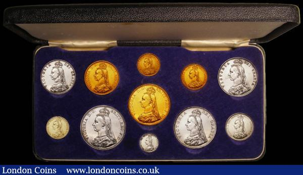 1887 Golden Jubilee Currency Set Victoria Jubilee Head (11 Coins) Gold Five Pounds, Two Pounds, Sovereign, Half Sovereign, Crown, Double Florin, Halfcrown, Florin, Shilling, Sixpence (withdrawn type) and Threepence, NEF to GEF contained in a black presentation box this in very good condition : English Cased : Auction 168 : Lot 327