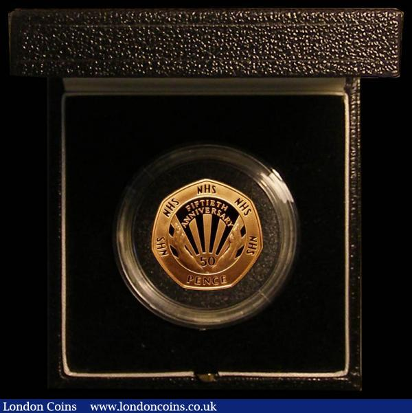 Fifty Pence 1998 NHS 50th Anniversary Gold Proof S.H10 FDC in the Royal Mint box of issue with certificate : English Cased : Auction 168 : Lot 356