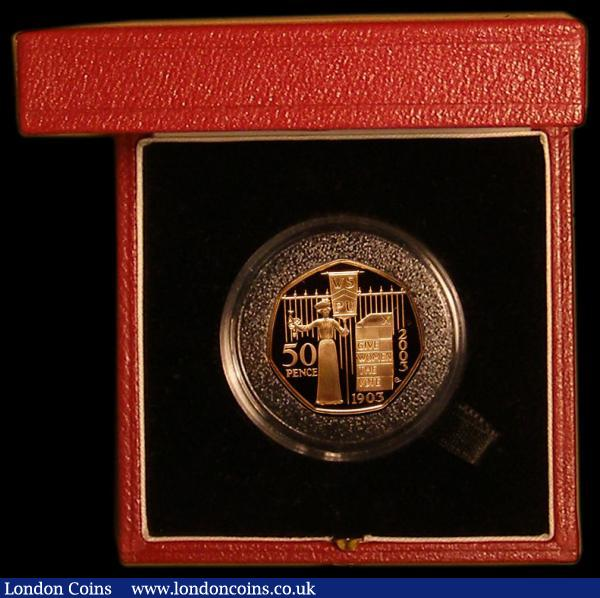Fifty Pence 2003 WSPU 100th Anniversary Gold Proof S.H12 FDC in the Royal Mint box of issue with certificate : English Cased : Auction 168 : Lot 360