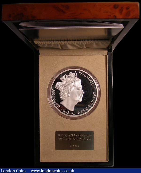 Five Hundred Pounds 2015 Queen Elizabeth II - The Longest Reigning Monarch, James Butler portrait. S.R4 One Kilo Silver Proof FDC in a Royal Mint box with certificate, number 005 of just 320 pieces issued, lists at £2000 in the Spink catalogue : English Cased : Auction 168 : Lot 387