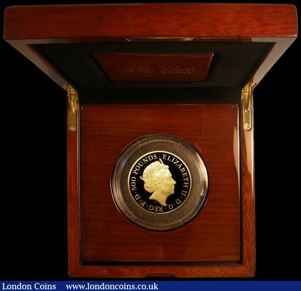 Five Hundred Pounds 2017 Britannia 5oz. Gold Proof, 30th Anniversary of the first Gold Britannia with '30 in trident' privy mark, S.BR4 FDC in the Royal Mint box of issue with certificate, only 130 pieces minted, just 125 are in this presentation format : English Cased : Auction 168 : Lot 390