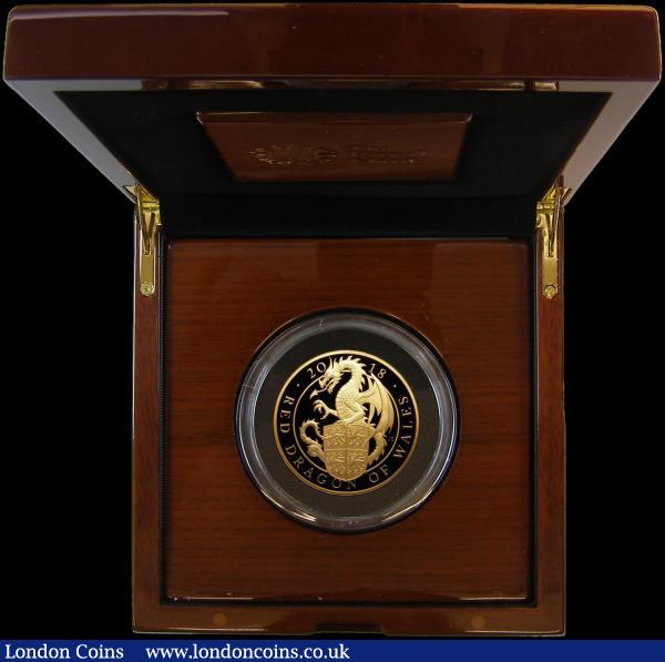 Five Hundred Pounds 2018 Queen's Beasts - The Red Dragon of Wales 5oz. Gold Proof S.QCH3 FDC in the Royal Mint box of issue with certificate and booklet, only 90 pieces minted with just 75 in this presentation format : English Cased : Auction 168 : Lot 396