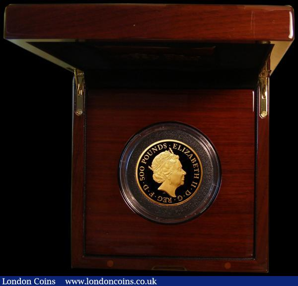 Five Hundred Pounds 2019 Britannia 5oz. Gold Proof, FDC in the Royal Mint box of issue with certificate, only 70 pieces minted with just 57 in this presentation format : English Cased : Auction 168 : Lot 397