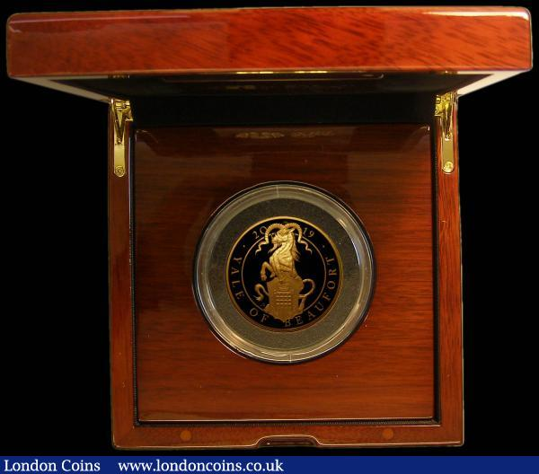 Five Hundred Pounds 2019 Queen's Beasts - The Yale of Beaufort 5oz. Gold Proof FDC, in the Royal Mint box of issue with certificate. only 70 minted with just 55 in this presentation format : English Cased : Auction 168 : Lot 399