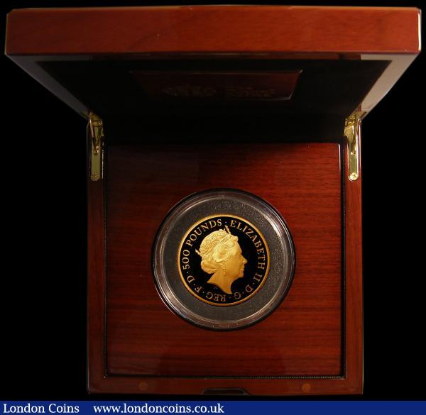 Five Hundred Pounds 2020 Queen's Beasts - The White Lion of Mortimer 5oz. Gold Proof FDC in the Royal Mint box of issue with certificate and booklet. Only 70 minted with just 55 in this format : English Cased : Auction 168 : Lot 400