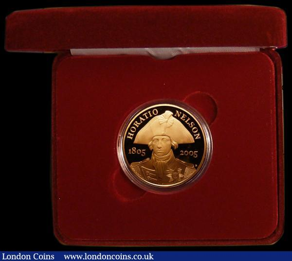 Five Pound Crown 2005 Admiral Nelson S.L15 Gold Proof FDC in the box of issue with certificate : English Cased : Auction 168 : Lot 405