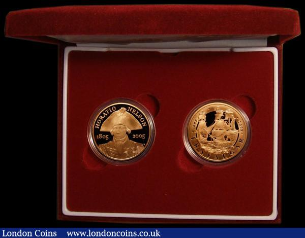 Five Pound Crown in Gold (2) a two-coin set 2005 Nelson and Trafalgar Gold Proofs FDC cased as issued with certificate : English Cased : Auction 168 : Lot 425