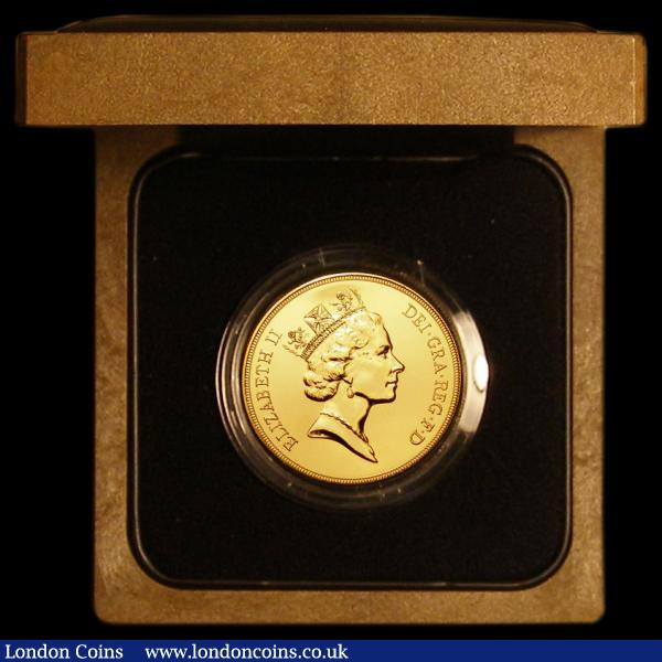 Five Pounds 1990 Gold  S.4252 BU in the original case of issue with certificate : English Cased : Auction 168 : Lot 428