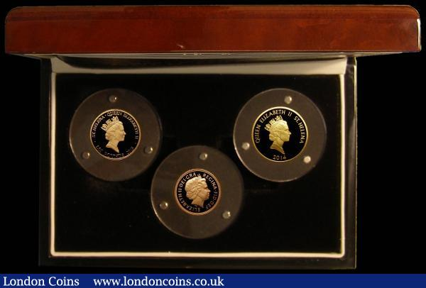 GB/St. Helena a 3-coin set in gold 'The World's Most Significant Gold Coins' comprising Sovereign 2014 Proof, St. Helena (2) Guinea 2013 East India Company Gold Proof, and Gold Mohur 2014 24 carat Gold Proof FDC in the London Mint Office box with certificate : English Cased : Auction 168 : Lot 439