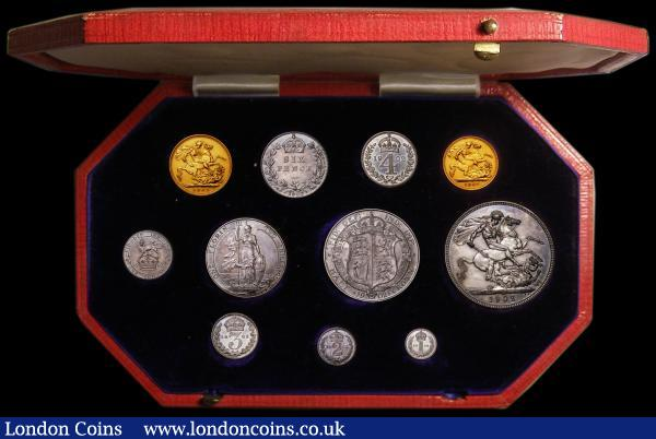 Proof Set 1902 (11 coins) Sovereign to Maundy Penny, the Sovereign, Half Sovereign and Sixpence lightly cleaned UNC, but not unattractive, the other silver UNC to FDC with minor hairlines, in the red box of issue : English Cased : Auction 168 : Lot 466