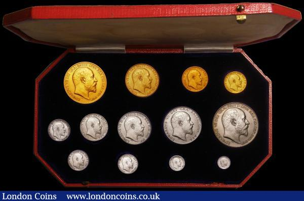 Proof Set 1902 Long Matt Set (13 coins) Gold Five Pounds, Two Pounds, Sovereign and Half Sovereign, Silver Crown to Maundy Penny UNC to FDC with minor hairlines and light contact marks visible under magnification, in the red box of issue : English Cased : Auction 168 : Lot 467