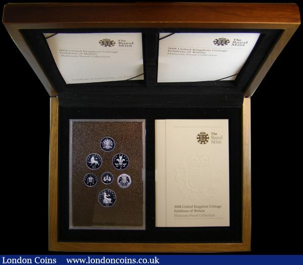 Proof Set 2008 Emblems of Britain in Platinum One Pound to One Penny (7 coins), S.PPEBCS, FDC in the Royal Mint's large and impressive box of issue with certificates, only 250 sets issued : English Cased : Auction 168 : Lot 477