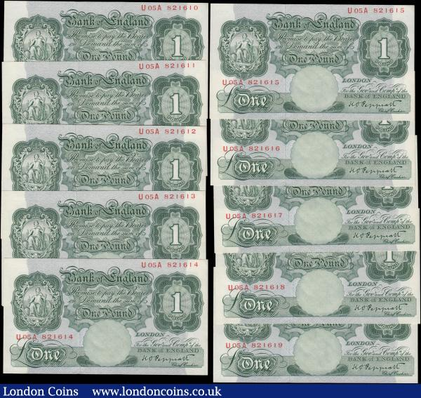 One Pounds Peppatt Fourth period B260 Green Britannia medallion Threaded issues 1948 (10) a consecutively numbered set serial numbers U05A 821610 - U05A 821619, all fresh and crisp about UNC - UNC and still retaining some original embossing. A desirable set in this high grade : English Banknotes : Auction 168 : Lot 50