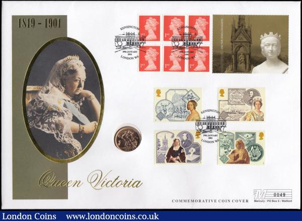 Sovereign 2001 Unc in The Queen Victoria Cover : English Cased : Auction 168 : Lot 521