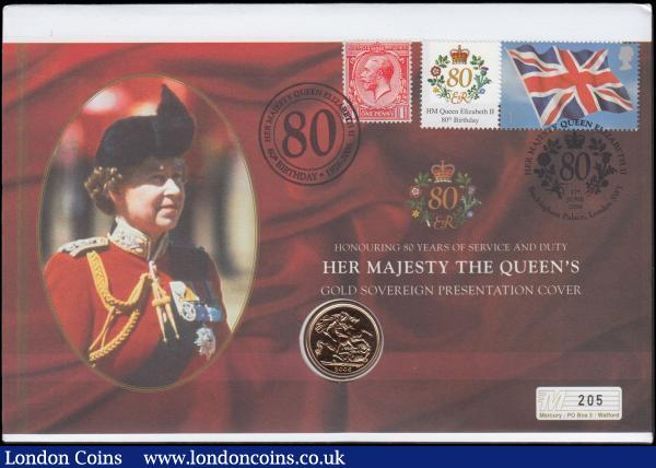 Sovereign 2006 Unc on Westminster's QE II 80th Birthday First Day Cover : English Cased : Auction 168 : Lot 526